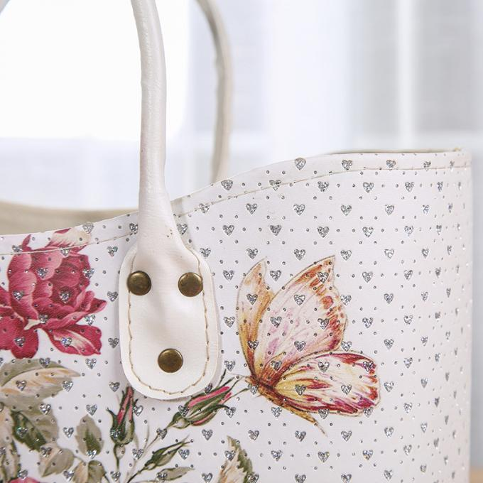 Factory sell Rose Flower Design White Basket PU Leather Vintage Women Shoulder Basket Shopping Basket with Low Price