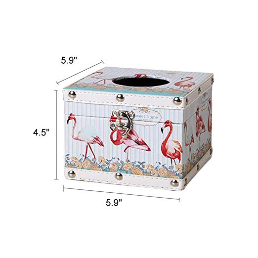 Wooden Flamingo Tissue Box Holder Cube for Car Kitchen Bathroom Bar Hotel