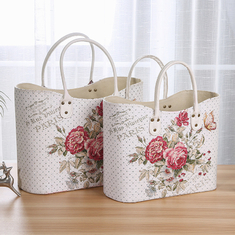 China Factory sell Rose Flower Design White Basket PU Leather Vintage Women Shoulder Basket Shopping Basket with Low Price supplier