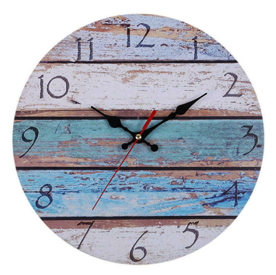 China Beach Stripe Rural Rustic Wooden Wall Clock Kitchen Antique Shabby Chic European Style Retro Home Decor Wall Clock supplier