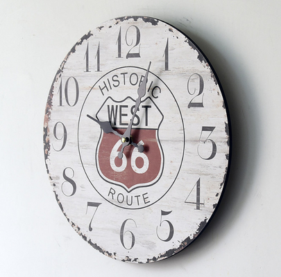 66 Route Retro Wall Clock Home Nursery Living Room Bar Decor Style Creative Wood Wall Clock MDF Wooden Board