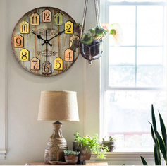 Vintage Style France Paris Colorful Wall Clock Country Tuscan Style Arabic Number Design Silent Wall Clock Room Bar Deco