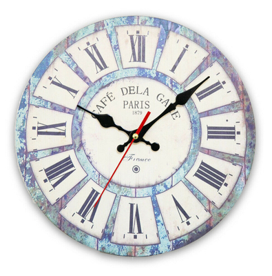 China Large Vintage Wooden Roman Number Wall Clock Shabby Chic Rustic Kitchen Home Antique-Style Wall Clock supplier