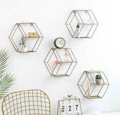 Hot Selling Iron Wall Storage Rack Metal Hanging Wall Decoration Living Room Bedroom Nordic Style Display Shelf