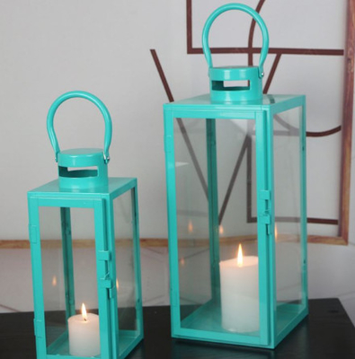 China blue color set of 2 glass metal square candle Lantern Garden Night Wedding Outdoor Tea Light Decor supplier