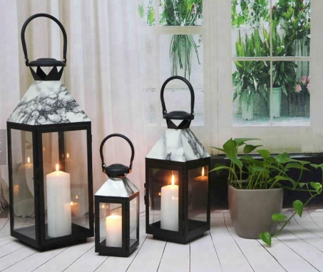China Set of 3 marbled black outdoor glass metal candle lantern Battery Flickering Flame Effect Decor Candle Hanging LANTERN supplier