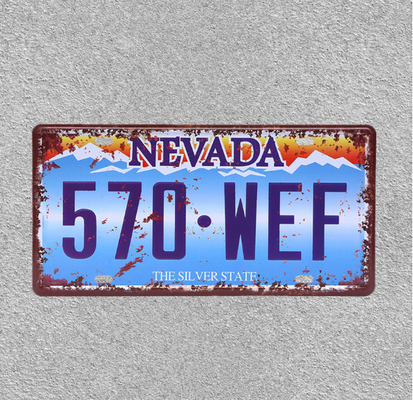 China 570 WEF Car Metal License Plate Tin Poster Decorative Bar Garage Cafe Wall Ornaments Poster supplier