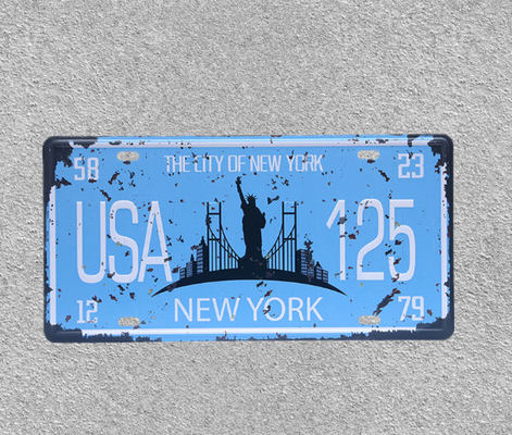 China USA 125 New York City Wall Hanging Poster Decorative Bar Cafe Hotel Wall Ornament Poster Iron Plate Plaque supplier