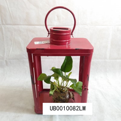 Decorative Wall Hanging Antique Candle Lantern Rustic Iron Finish Red Color