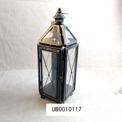 Antique Black Finish Metal Candle Lantern Home Decoration Customized Shape