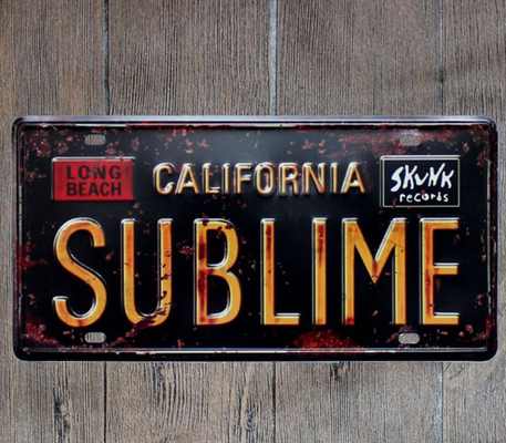 SUBLIME CALIFORNIA Metal Tin Sign Vintage Painting Plaques Sign Decor Plates