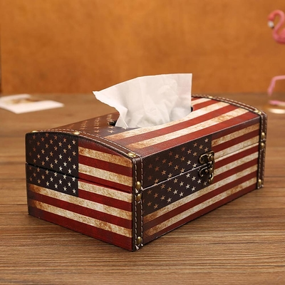 Wooden Tissue Box Cover Holder Vintage American Flag Style Classical Napkin Box for Office