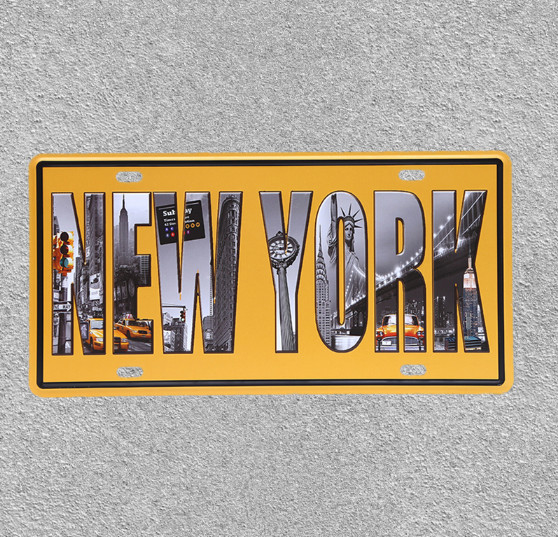 NEW YORK Iron Decorative Sign Decorative Bar Garage Cafe Wall Art Poster Metal Ornament Home Decor Iron Plate