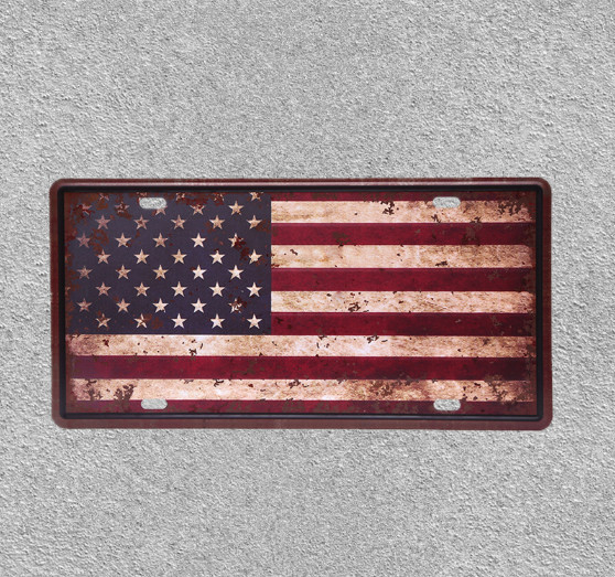 USA National Flag Iron Sign Decorative Bar Cafe Shop Painting Plaque Sticker Wall Poster Metal Plate